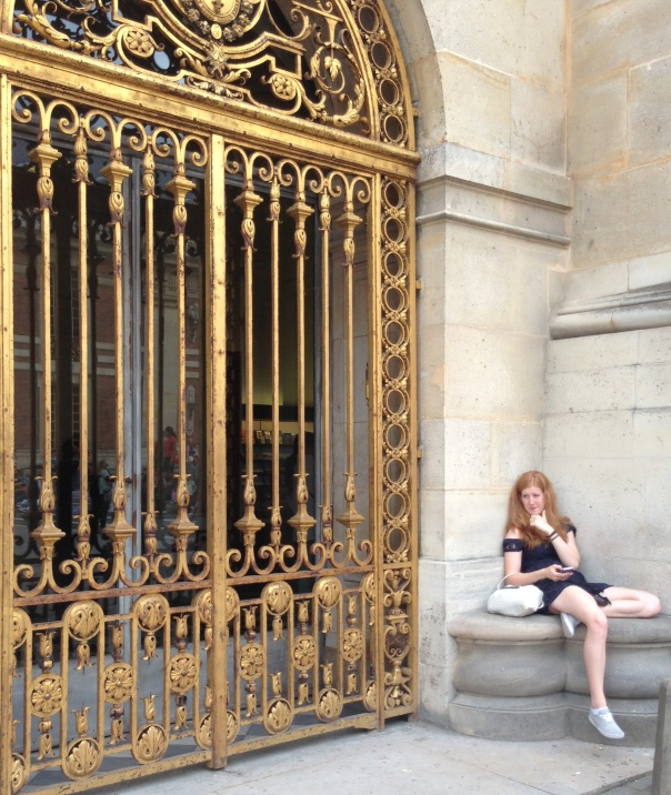 Girl at Gates of Versailles Copyright Shelagh Donnelly