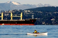 Canoe and Ship Spanish Banks 2328 Copyright Shelagh Donnelly
